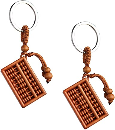 Fortune Abacus Carving Wooden Pendant Keychain Key Ring Chain For Car Handbag \