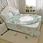 FADFAY-Green-Floral-Bed-Sheet-Set-Cotton-Sheets-4-Piece-King-Size