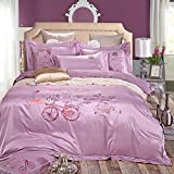 SD Top-grade Tencel 1000T 4-Piece with Jacquared Duvet Cover Set with Extra Queen Size One Bike with Pink,White,Blue Flower and Road Pattern Lavender Background Palace Luxury Style