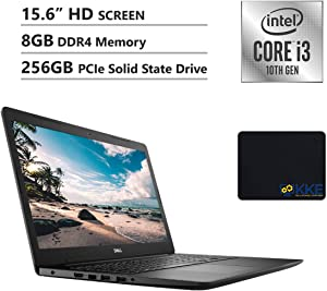 "Dell Inspiron 15.6"" HD Laptop, Intel Core i3-1005G1 Processor, 8GB DDR4 Memory, 256GB PCIe Solid State Drive, WiFi, Webcam, Online Class Ready, HDMI, Bluetooth, KKE Mousepad, Win10 Home, Black"