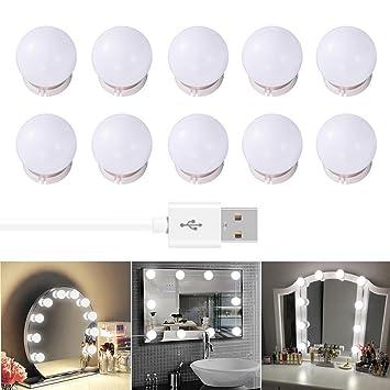 Majome Bain Lampe Powered Pour 10 Makeup Miroir Usb Salle De Led wOZiPXukT