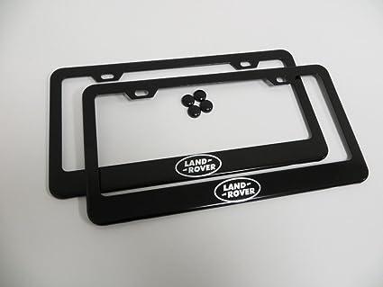 Amazon.com: set of 2 Land Rover Logo Black Metal License Plate Frame ...