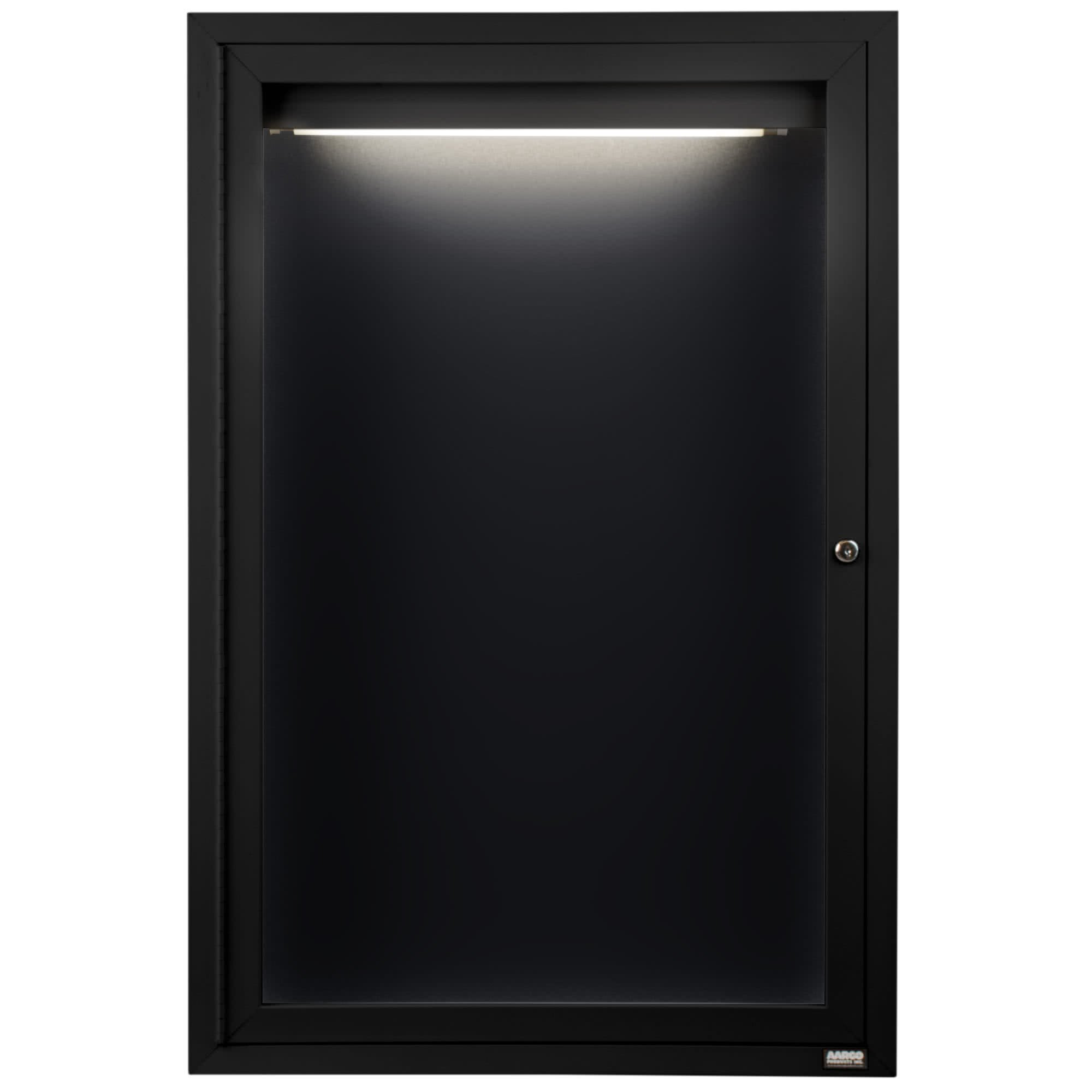 TableTop King ADC3630IBK 36'' x 30'' Enclosed Hinged Locking 1 Door Powder Coated Black Aluminum Indoor Lighted Message Center with Black Letter Board
