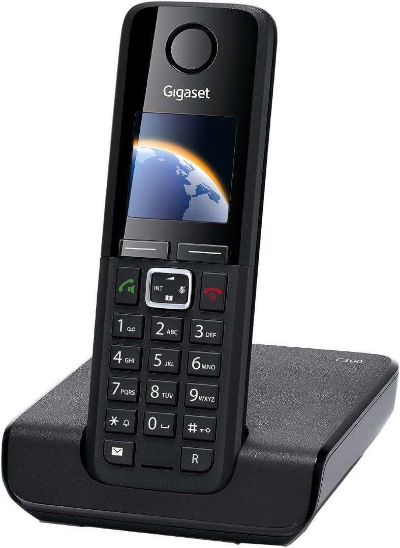 Gigaset C300 - Teléfono fijo inalámbrico DECT/GAP con manos libres, color negro: Amazon.es: Electrónica