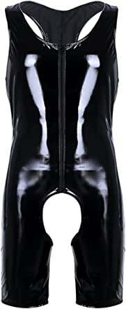 Mens Shiny Leather Wet Look Leotard Bodysuit Underwear Jumpsuit Costume Clubwear