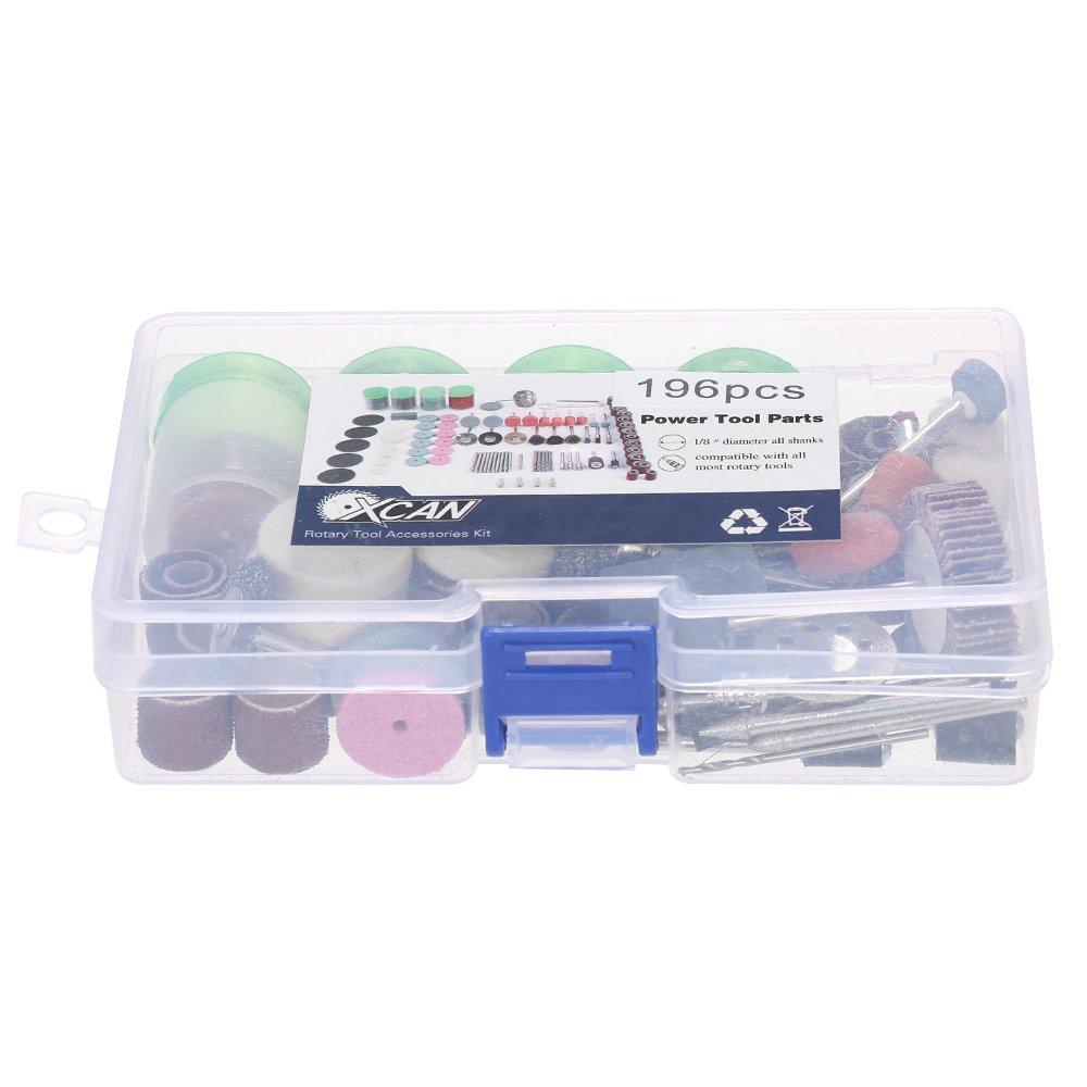 KKmoon Rotary Tool Set Cleaning Sanding Grinding Brushing Polishing Accessory Kit with Storage Box for Dremel Grinder