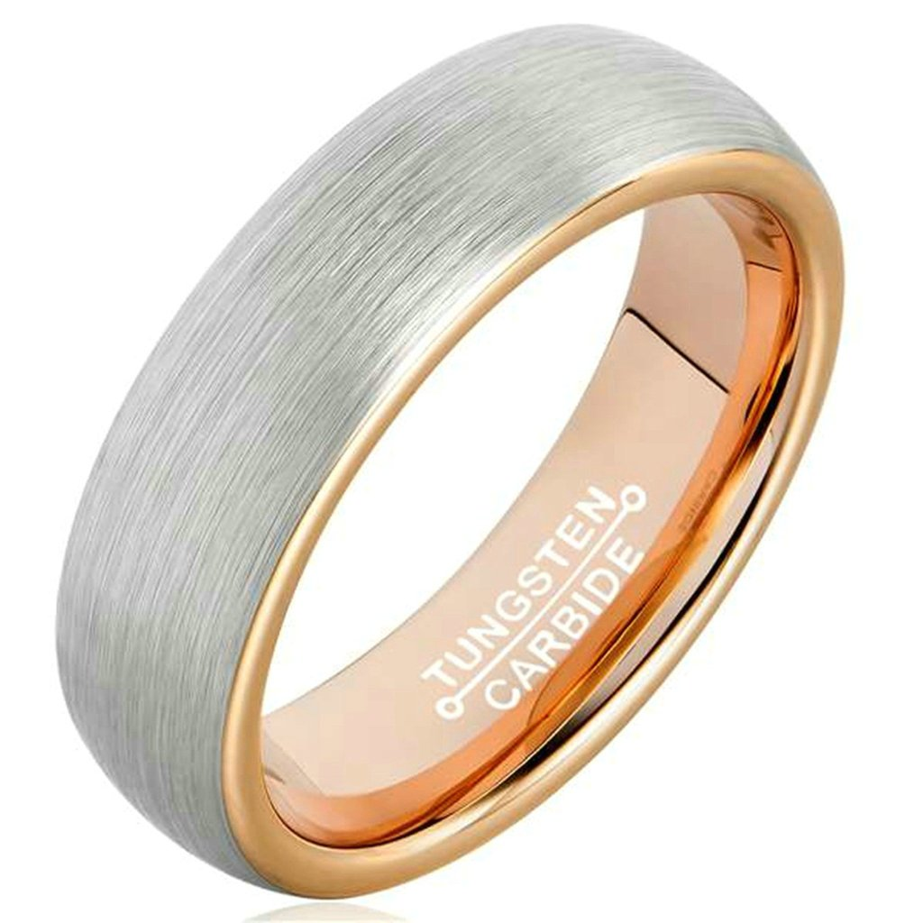 Beydodo Tungsten Ring For Women Men Gothic Biker Ring,Smooth Simple Design Silver Rose Gold Size 8