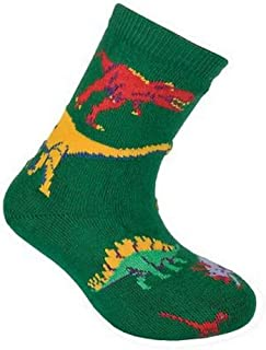product image for Wheel House Designs; Kids Colorful Green Dinosaur Socks Size 6-8.5
