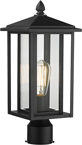 Zeyu Outdoor Post Light, Exterior Pole Lantern Lighting Fixture with Clear Glass Shade and Black Finish, 1951-P BK