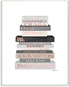 Stupell Industries Neutral Grey and Rose Gold Fashion Bookstack Wall Plaque, 10 x 15, Design by Artist Amanda Greenwood
