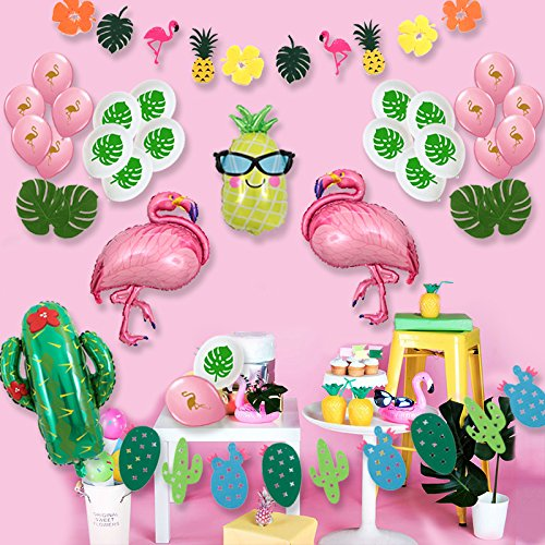 Giant Flamingo Glasses Pineapple Cactus Balloons, Flamingo and Cactus Party Banner Tropical Theme Summer Beach Party Baby Shower (Pink Flamingo (Giant Balloons Party City)
