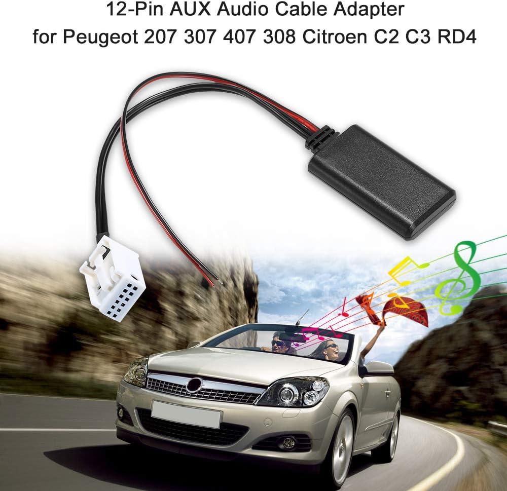 Voupuoda AUX Cable de Audio Adaptador 12Pin para Peugeot 207 307 407 308 Citroen C3 C2 RD4 BT Radio Inalámbrico Estéreo