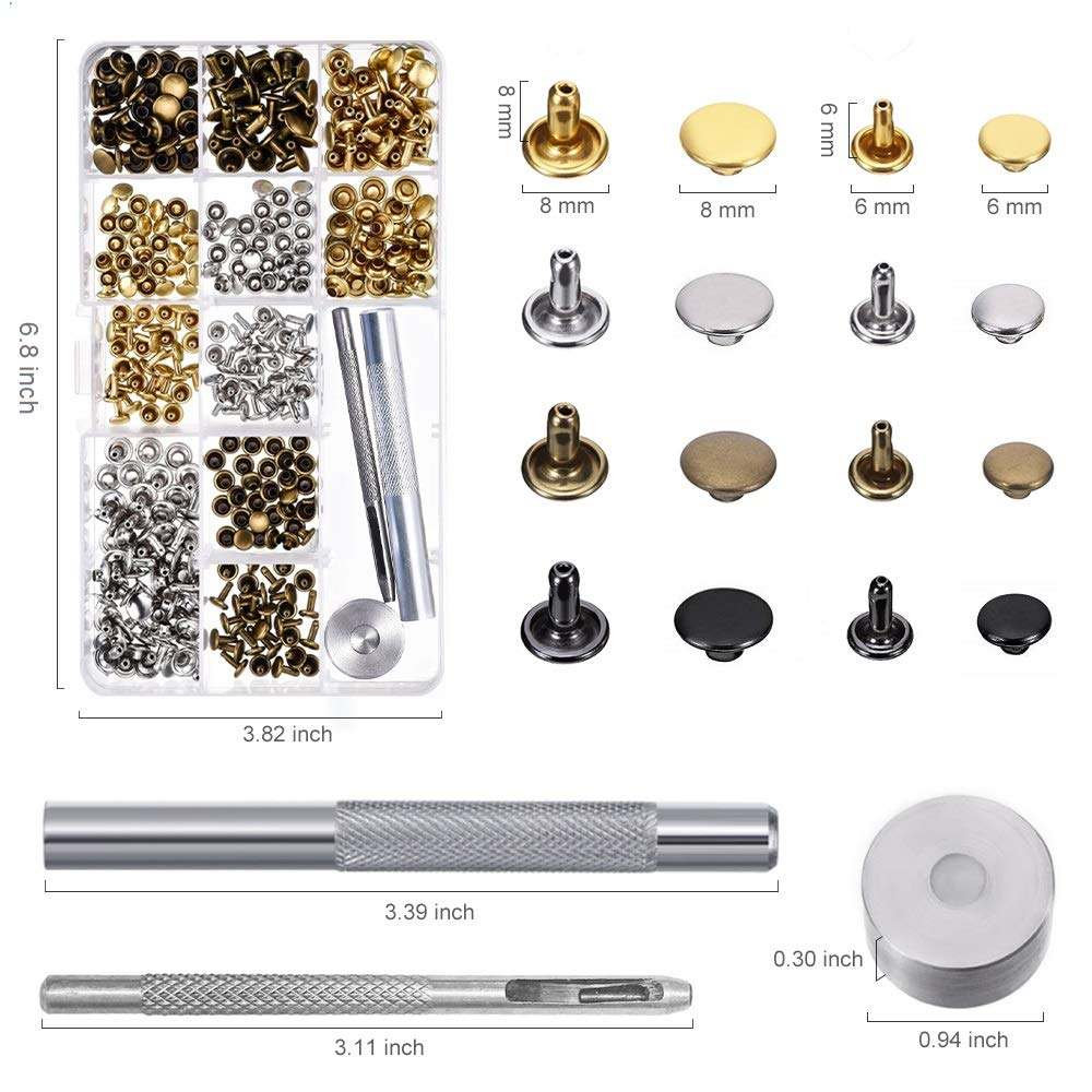 Alritz Double Cap Rivet Tubular 4 Colors 2 Sizes Metal Studs with Fixing Tools for DIY Leather Craft//Clothes//Shoes//Bags//Belts Repair and Decoration 240 Sets Leather Rivets