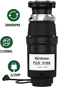 RINKMO Garbage Disposal FCD-510A with Power Cord 1/2 HP Stainless Steel Shredder for Kitchen Sink Food Waste Disposer,3800 RPM Super Quiet Garbage Disposals,1100ml Continuous Feed