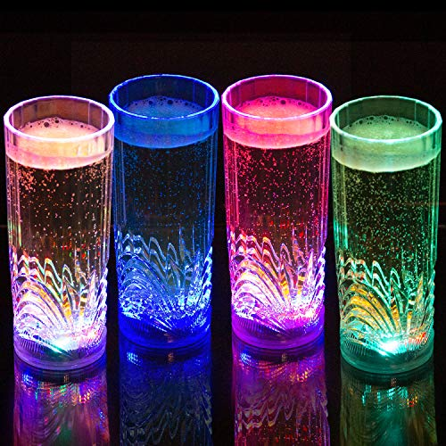 Liquid Activated Multicolor LED Highball Glasses ~ Fun Light Up Drinking Glasses - 9.5 oz. - Set of 4 -