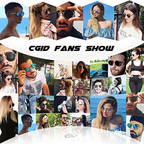 metálico gafas de Azul inspirado Plateado círculo Steampunk CGID polarizadas hombres A retro sol estilo redondo E71 para ZZY8W4