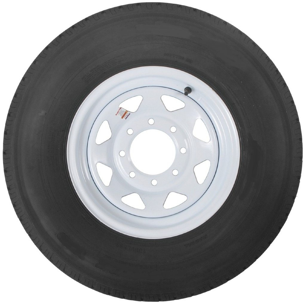 16 White Spoke Trailer Wheel 8 Lug with Radial ST235/80R16 Tire Mounted (8x6.5) bolt circle Wheels Express Inc 16865ws23580