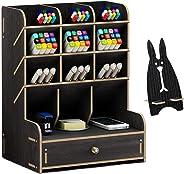 Marbrasse Wooden Desk Organizer, Multi-Functional DIY Pen Holder Box, Desktop Stationary, Home Office Supply Storage Rack wi
