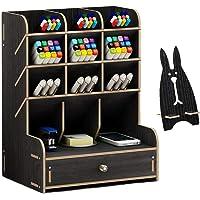 Marbrasse Wooden Desk Organizer, Multi-Functional DIY Pen Holder Box, Desktop Stationary, Home Office Supply Storage Rack with Drawer (B11-Black)