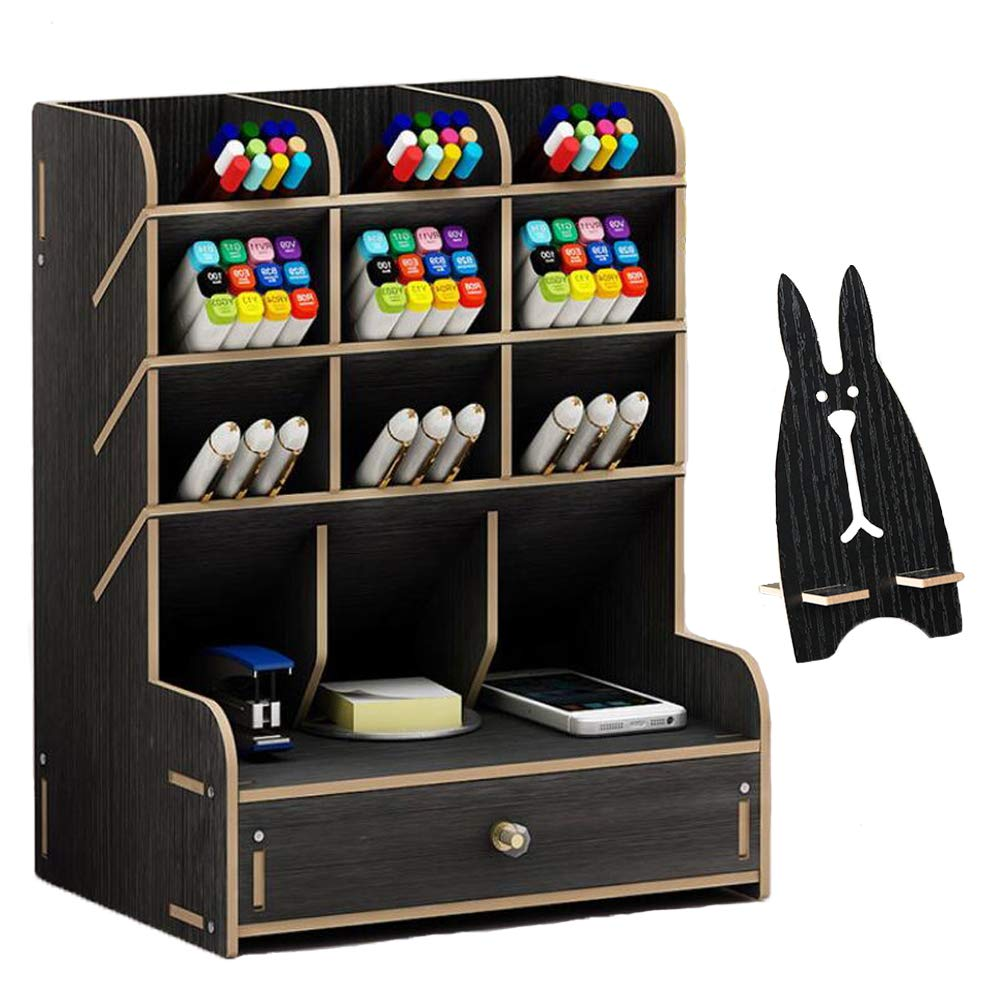 Marbrasse Wooden Desk Organizer, Multi-Functional DIY Pen Holder Box, Desktop Stationary, Home Office Supply Storage Rack with Drawer,Cell Phone Holder (B11-Black)