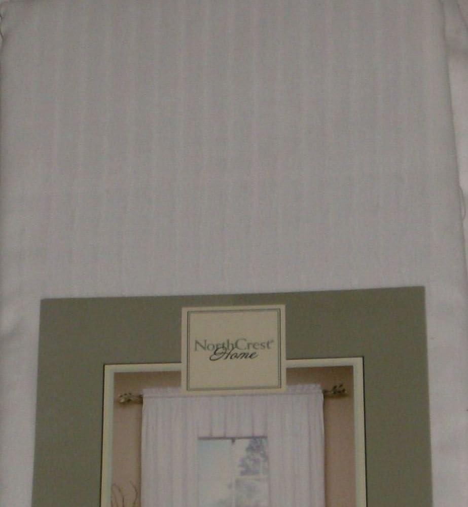 NorthCrest Home Lilly White Leno Stripe Window Panel Semi Sheer 63