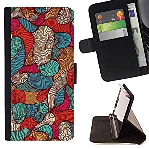 Momo Phone Case / Flip Funda de Cuero Case Cover - Mar Vignette pluma de tinta Arte Wallpaper - Samsung Galaxy S6 EDGE