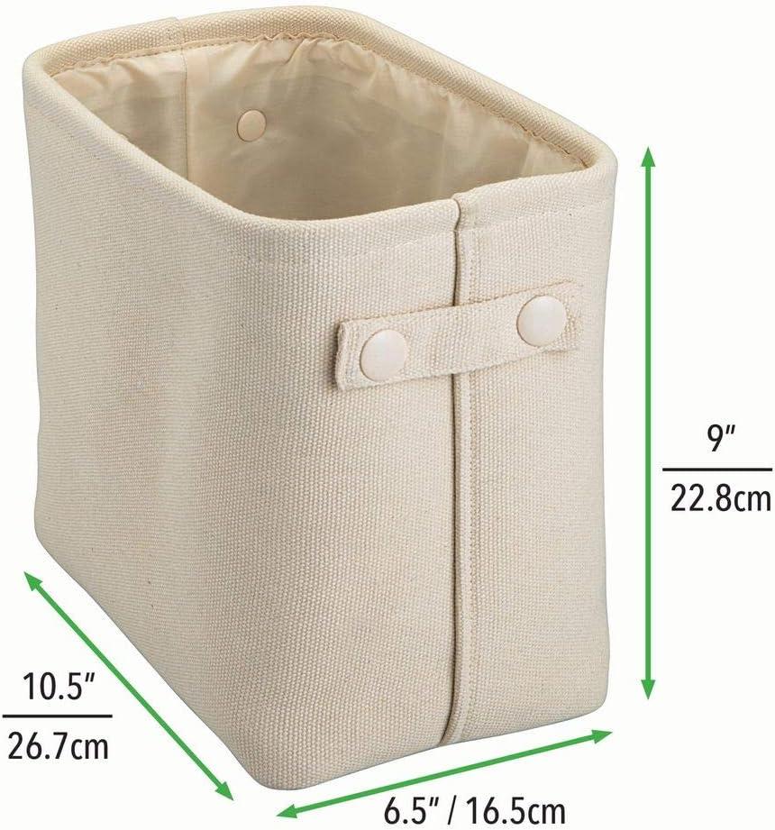 ideal zur Kosmetikaufbewahrung cremefarben mDesign 2er-Set Aufbewahrungskorb mit Innenbeschichtung und Strukturdesign praktischer Badezimmer Organizer aus Baumwolle mit Henkeln