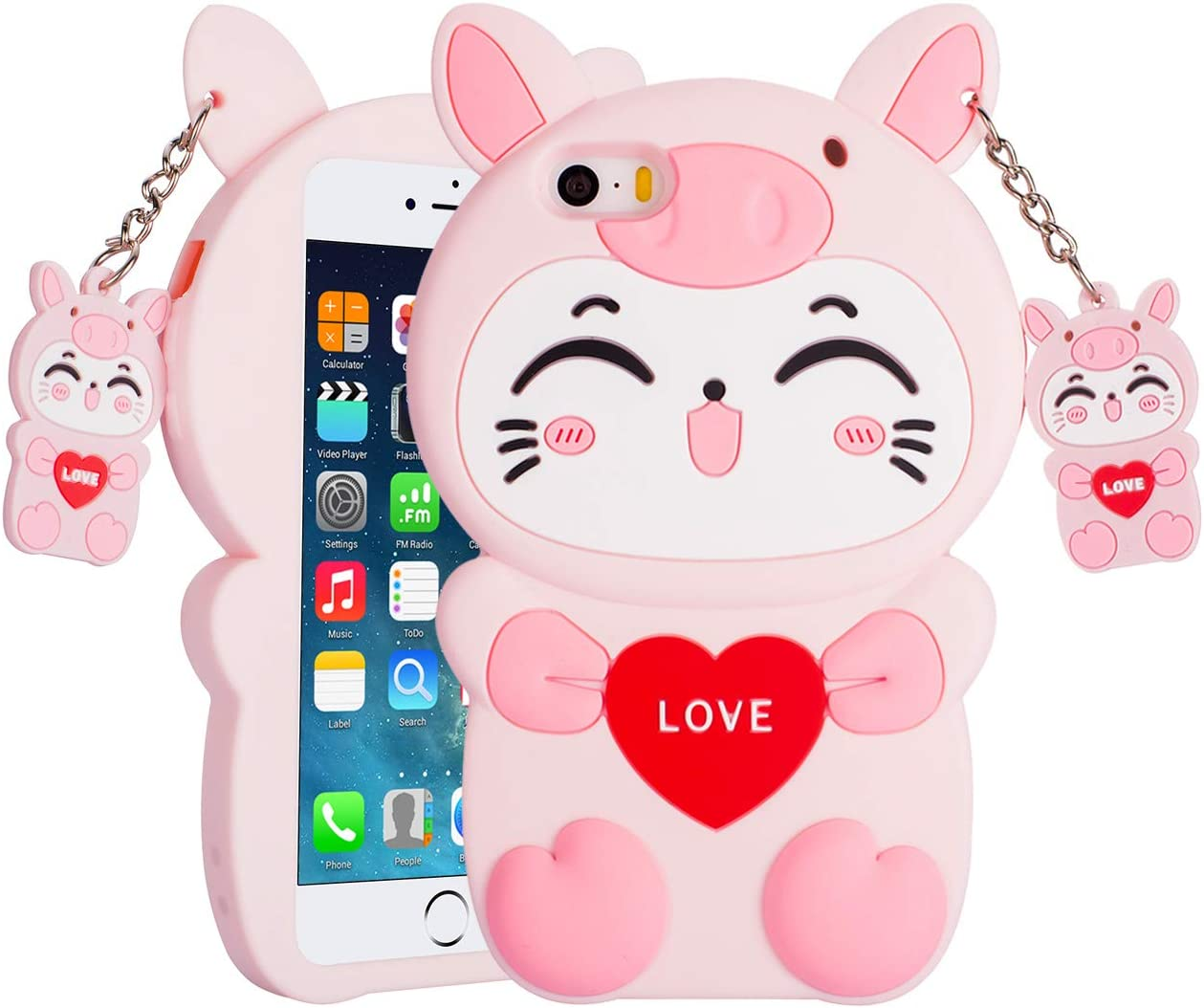 3D Pink Cat Phone Case for iPhone 5C/5S/5, Soft Silicone Rubber Kawaii Cute Cartoon Animal Shockproof Drop Protection Funny Unique Durable Bumper Case Cover