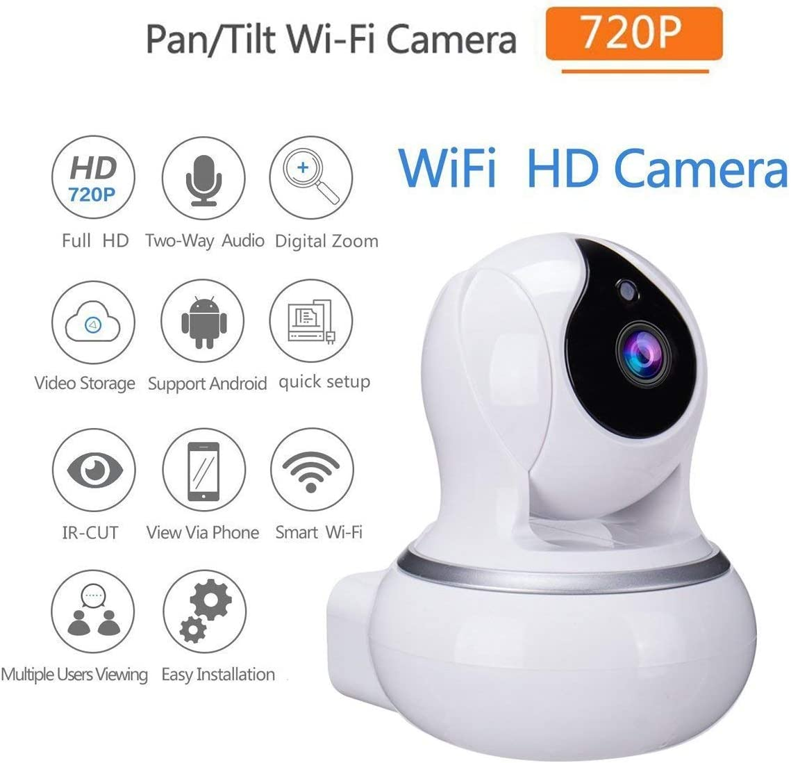 Home Security Camera 720P HD WiFi IP Camera Wireless Surveillance Camera System with Two Way Audio Remote Indoor Night Vision Great As A Baby Pet Monitor