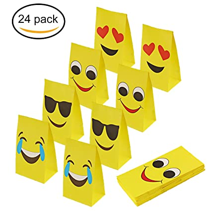 aresmer Emoji Paper Bags Party Treat Bags for Kids 3d1337d532e00