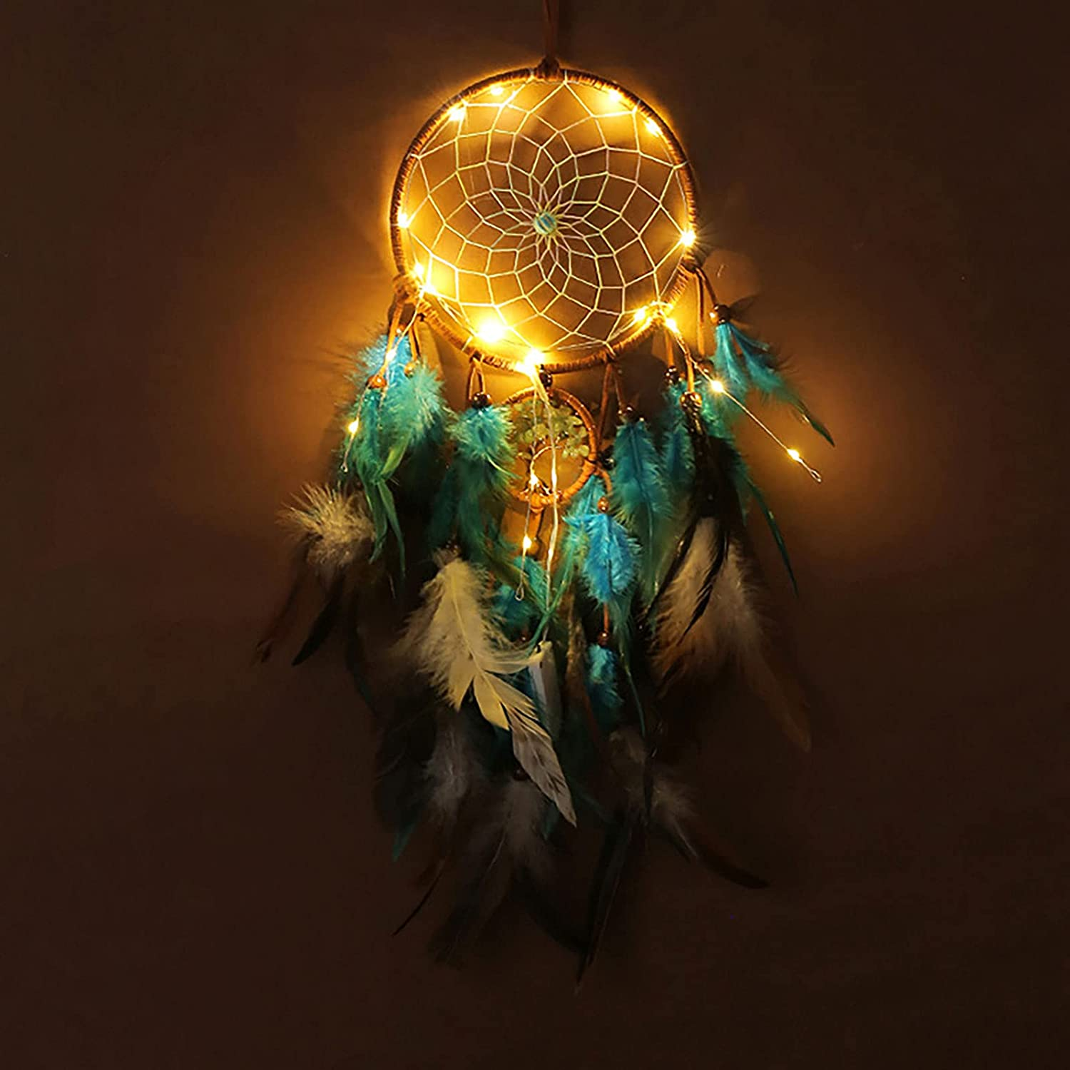 Cutefiy Dream Catchers with Lights for Bedroom Wall Decor, Handmade Native American Retro Style Tree of Life Colorful Feather Dream Catchers Gift for Home Hanging Decor Ornaments Craft, 23.62