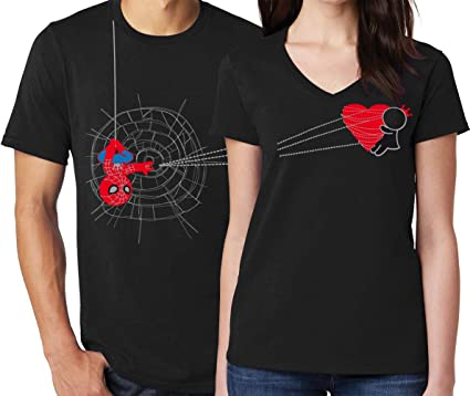 Husband Wife Super Hero T Shirt Funny Couples Love Matching valentine day outfit