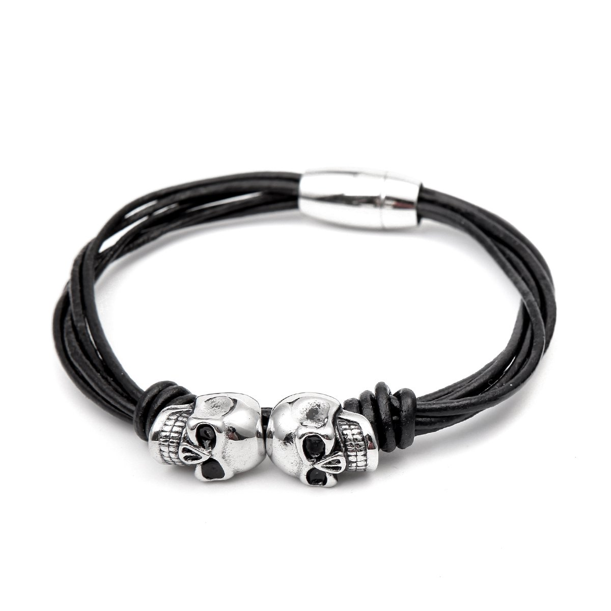 ICONIC Men's Leather Rope Bracelet Silver Plated Stainless Steel Bracelet with Two Skull Charms