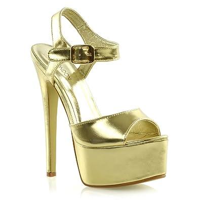 ESSEX GLAM Womens Platform Stiletto Heels Ladies Ankle Strap High Heel Prom Shoes (10 B