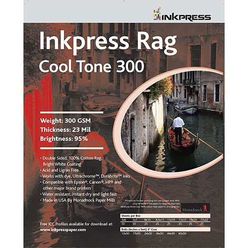 Supply Spot offers Inkpress Rag Cool Tone 300 Duoble Sided Inkjet Photo Paper 8