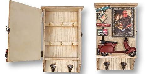Dakota Organizador de Llaves Retro de Madera con portafoto y Colgador de Ropa – Portallaves para recibidor, Cocina, etc. – 31 x 20 cm 1 Unidad