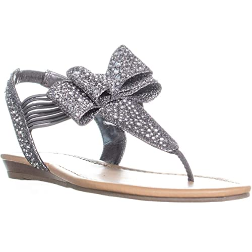 701f942c7c61 Material Girl Womens Shayleen Flat Slingback Thong Sandals Gray 5 Medium  (B