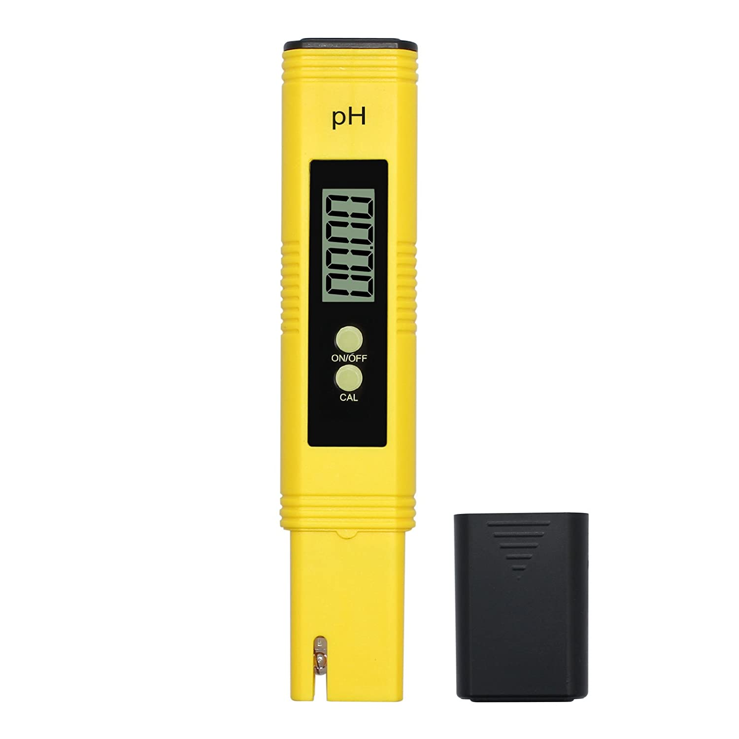 PH02 Digital PH Meter Battery Operated 0.01 Resolution Water Quality Tester for Aquarium Pool with 0.00-14.00 Measurement Range and Large LCD Display Yellow