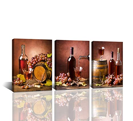 Baisuwallart 3 Pieces Kitchen Wall Decor Red Wine Cups Hd Modern Framed Wall Art Drink Food And Beverage Restaurant Canvas Prints Pictures Paintings