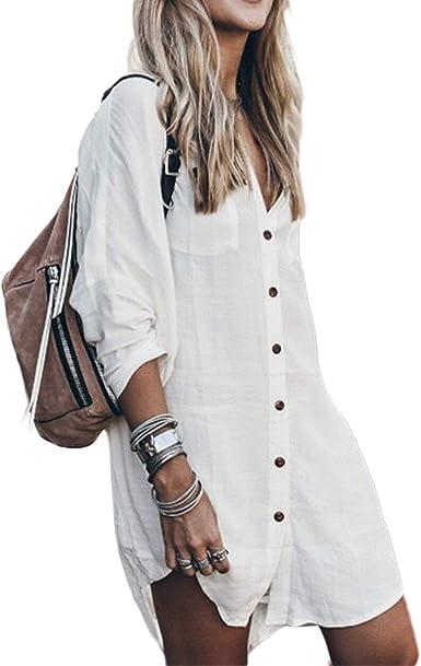 Camisa Larga con botón Suelto Informal, Blusa de Lino de algodón Vestido de Camisa Alta y Baja Tops de Manga Larga Camiseta: Amazon.es: Ropa y accesorios