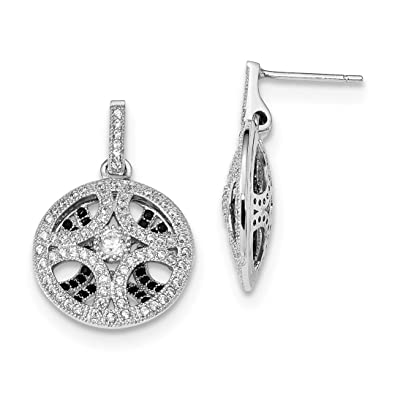 f272cbbd8 Image Unavailable. Image not available for. Color: 925 Sterling Silver  Black Cubic Zirconia Cz Post Stud Drop Dangle Chandelier Hoop Earrings ...