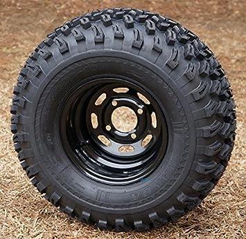 Amazon Com 10 Black Steel Golf Cart Wheels And 22x11 10 All Terrain Golf Cart Tires Set Of 4 Automotive