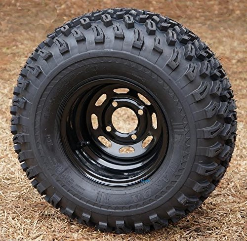 10' Black Steel Golf Cart Wheels and 22x11-10 All Terrain Golf Cart Tires - Set of 4