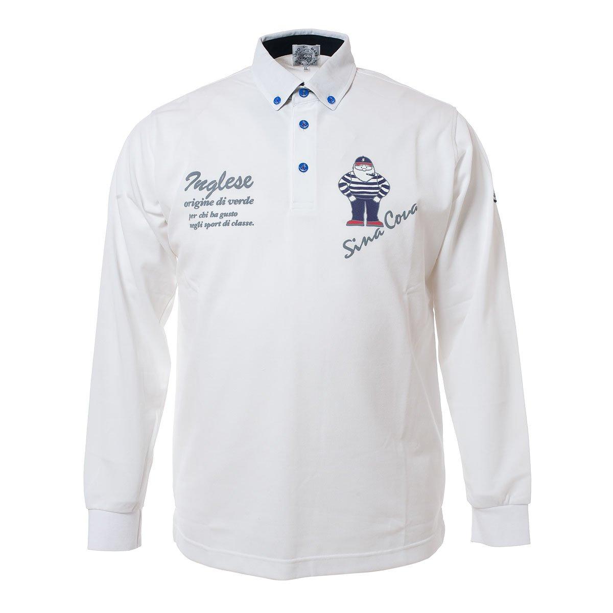 SINACOVA Men's long sleeve polo shirt White Medium by SINA COVA