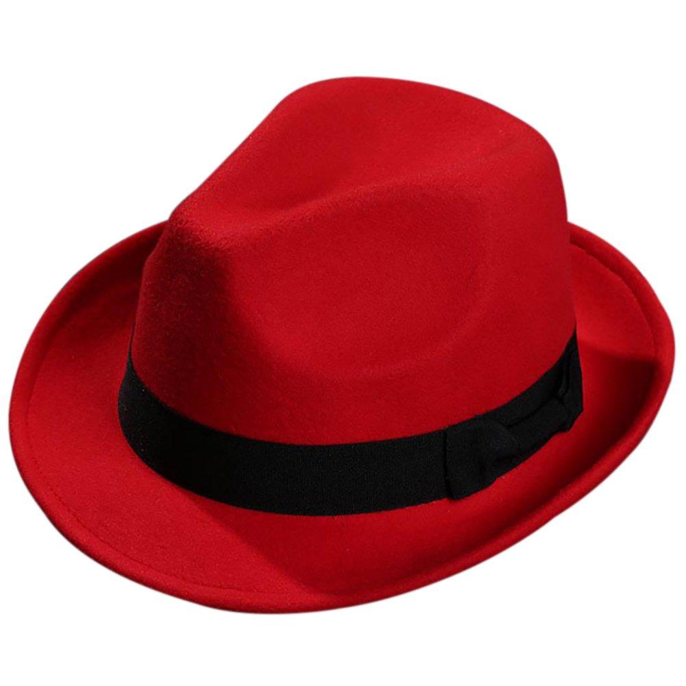 LAMEIDA Vintage Fedoras Hat Ladies Men Bowler Hats Wool Felt Cowboy Jazz Hat Wide Brim Cap for Winter Autumn