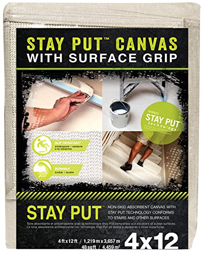 (Stay Put Canvas Drop Cloth with Slip Resistant Surface Grip, 4-feet x 12-feet)
