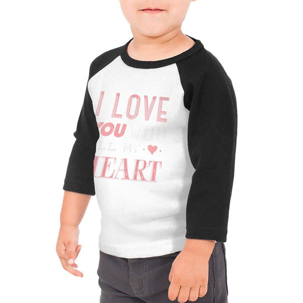 I Love You with All My Heart Unisex Toddler Baseball Jersey Contrast 3//4 Sleeves Tee