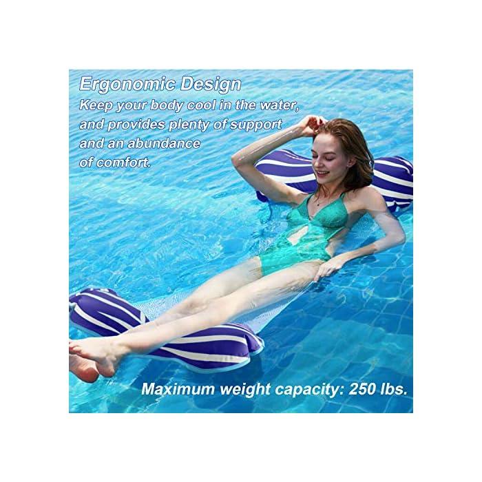 61wZ0UcLRRL 【Alta calidad】El flotador de la piscina está hecho con PVC de alta calidad que es duradero y ecológico con una superficie suave, lo que garantiza que no se dañe ni raye. Algunas telas se desvanecen, desgarran o encogen fácilmente, sin embargo, la nuestra puede conservar su forma, color y rendimiento originales incluso después de muchos usos. 【Hamaca Flotante Versátil】El verano está aquí, y probablemente estés preparando las cosas para los días de ocio alrededor de la piscina. ¡Entonces deberías considerar este flotador de piscina! Puede usarlo como una hamaca, una silla de descanso, un vagabundo o una silla de montar, y pasar un día realmente encantador jugando y relajándose en el agua. 【Relajante y cómodo】¡Lleva tu flotador de piscina Aiglam a la piscina para disfrutar todo el día de puro placer! Está semi-sumergido para una mayor comodidad de enfriamiento, y está diseñado ergonómicamente para brindar un gran apoyo a todo su cuerpo con su almohada flotante, el asiento central de malla y el cómodo reposapiés.