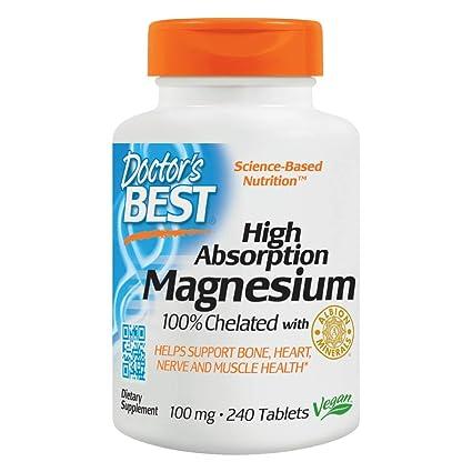 Magnesio de alta absorción, 100% quelatado, 240 tabletas - de mejor doctor