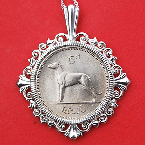 1968 Irish Ireland 6 Pence Wolfhound Greyhound Dog BU Unc Coin Solid 925 Sterling Silver - Silver Coin Pence